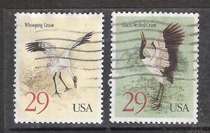 CRANES Black-Necked Crane & Whooping Crane #2867-2868 Used US 1994 29c Stamp Set
