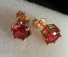 6-pin red tourmaline 18k yellow gold filled 7mm round stud earrings Plum UK BOXD