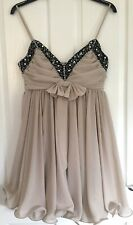 Stunning French Connection Dress. NEW Nude Beaded Ruffle Size 12 FCUK