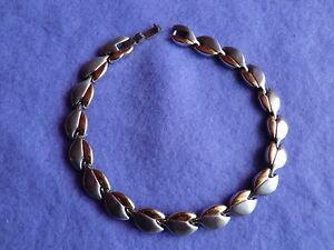Magnetarmband aus Edelstahl - Blattform gold/silberfarben - SONDERANGEBOT