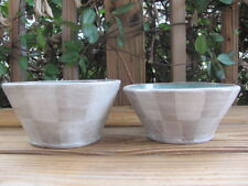 Gray-White Outside~Checkered~Teal Inside~Pottery Bowls