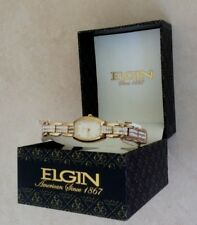Elgin Women's Gold Watch Rectangular Pearl Dial Crystal Gemmed Band New in Box