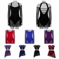 Women's Leotard Bodysuit Ballet Dance Tutu Dress Lyrical Modern Dancewear Skirts