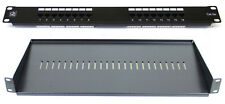 "Cat5E 16 Port Patch Panel + 200MM Rack Mount Shelf 1U 19"" Network Comms Cabinet"