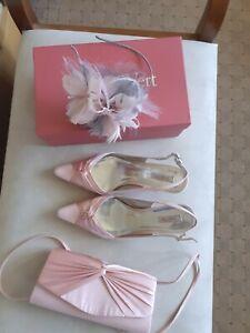 Jacques Vert Bag, Fascinator & Shoes 8 41 Fondant Pink worn once wedding/races