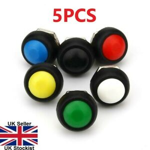 5PCS Mini 12mm Waterproof Momentary ON/OFF Push Button Round Switch 5 Colours