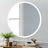 """Costway 24"""" LED Mirror Illuminated Light Wall Mount Round Make Up Touch Button"""
