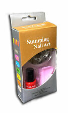 NAIL Art Stamping Kit Pack + 3 SMALTO 2 immagine PIASTRA STAMPI TIMBRO & Raschietto