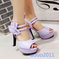 Vintage Womens Open Toe Block Heel Bowknot Platform Party Shoes US Size 4-12.5