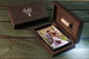 Handmade wedding  wood photo box for USB Drive for wedding or family photo