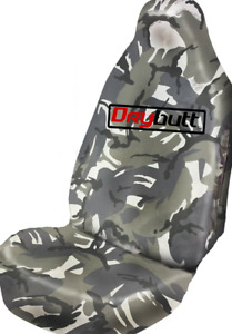 Drybutt Waterproof Grey Camo Premium Front Car Seat Cover Protector Surf Fishing