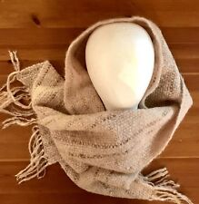 Dusty Pink Brown Grey  Wool Scarf With Fringe Woven Wrap