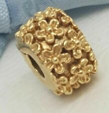 AUTHENTIC PANDORA 14K GOLD GOLDEN FLOWERS CLIP *NEW* 750507  RETIRED