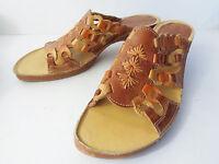 Pikolinos EUR 38 US 7.5M Brown Leather ChainLink Slide Sandal Shoe SPAIN