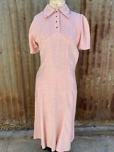 Vintage 1930s Cotton Candy Pink Linen Day Dress Pin Tucks Summer Button Up