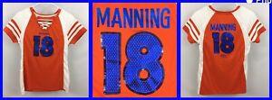 Women's PEYTON MANNING Denver Broncos V-Neck SEQUIN Lace-Up Detail Jersey Tee