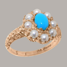 Solid 14ct Rose Gold Natural Turquoise & Pearl Womens Cluster Ring