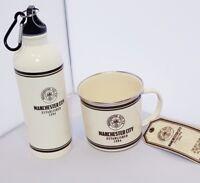Man City FC Retro Tin Sports Bottle 500ml & Retro Tin Mug Set - Ideal Gift