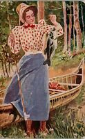 Proud Young Lady fishing Polka dot blouse 1909 Vintage Postcard DD1