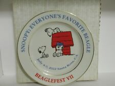 "SNOOPY PEANUTS BEAGLEFEST CERAMIC 9"" COLLECTORS PLATE ANDY OLAF 2002"