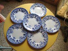 6 assiettes à dessert en faïence ancienne de Lunéville décor bleu très bon état