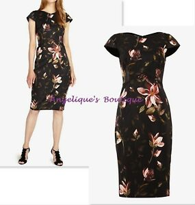 PHASE EIGHT KAILEY BLACK FLORAL BODYCON FITTED SCUBA OCCASION DRESS SZ 8-16 NEW
