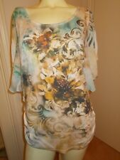 Pretty Espresso Sz. L Top Sheer Bat Wing Sleeves Ruched Sides Floral Design Exc
