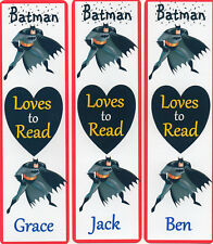 3 CHILDRENS PERSONALISED BOOKMARKS,BATMAN LOVES TO READ.18cm x5cm laminated