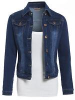 NEW Women Denim Jacket Fitted Jeans Jackets Ladies Indigo Blue Size 8 10 12 14