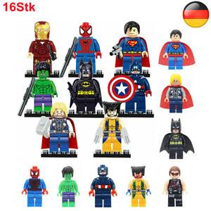 16 Stück Marvel Avengers Superhelden Superman Batman Hulk Minifiguren Bausteine