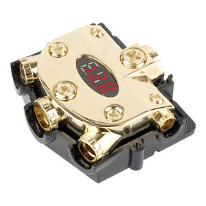 PREMIUM DIGITAL VOLTAGE METER & DISTRIBUTION BLOCK 0/2/4/8 GAUGE IN / OUT GOLD