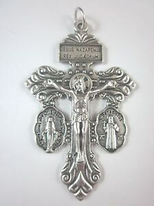 """3-Way Pardon Crucifix with attached St Benedict & Miraculous Medals 2 1/4"""" Italy"""