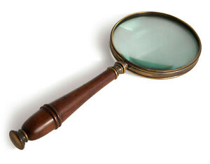 Magnifier Magnifying Glass Bronzed Brass & Wooden Handle 3x Reading Device New