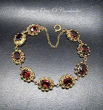 "Beautiful Ornate 9ct Gold Garnet Bracelet 6.5"" 15.8g 13.5 carats"
