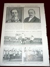 FOOTBALL LIPTON CUP 1923 ARGENTINA vs URUGUAY - Original Caras y Caretas Sheet