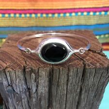 Vintage Designer Sterling Silver Oval Onyx Bangle Bracelet