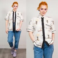 WHITE SHORT SLEEVE SHIRT BLOUSE WOMENS VINTAGE AZTEC STYLE PATTERN CASUAL  8 10