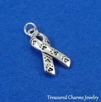 Silver PET AWARENESS RIBBON CHARM with Paw Prints Dog Cat ANIMAL RESCUE PENDANT