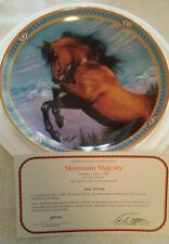 """ON THE RANGE"" porcelain collector plates set of 8 horses western saddle roping"