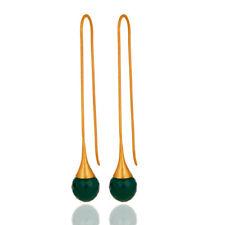 Green Onyx Briolette Designer Dangle Earrings 925 Silver Gemstone Jewelry