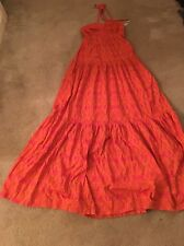 WOMENS LONG, DRESS Halter Orange Pink Boho Long SUMMER Bridal Small Medium