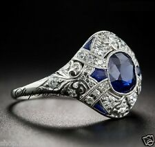 Vintage Art Deco 2 ct Blue Sapphire Diamond 925 Silver Engagement Filigree Ring