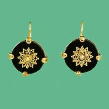 Vintage Gold Victorian Antique Inspired Black Onyx Bronze Statement Earrings