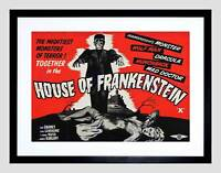 AD MOVIE HOUSE OF FRANKENSTEIN KARLOFF HORROR CLASSIC FRAMED PRINT B12X5060
