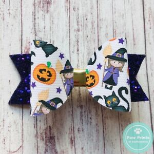 """Purple Halloween Witches & Black Cats Hair Bow -  3.5"""" Glitter Hair Clip"""