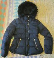 WOMEN'S ZARA FUR HOOD DOWN JACKET  S-M  uk 10  black feather puffa coat *MINT*