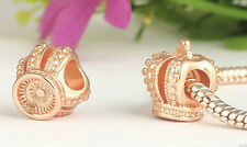 ROSE GOLD PLATED CROWN CHARM BEAD FOR BRACELET OR NECKLACE
