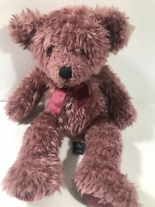 "Russ Berrie Barnaby Plush Plum Teddy Bear Stuffed Animal  Bow 14"" NWT (7)"