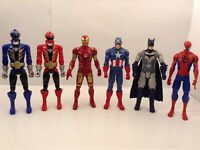 "6 ACTION FIGURES POWER RANGERS BATMAN SPIDERMAN IRON MAN CAPT AMERICA 12"" TALL"