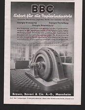 MANNHEIM, Werbung 1939, Brown, Boveri & Cie. AG BBC Papierindustrie